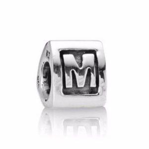 Pandora bead charm M initial sterling